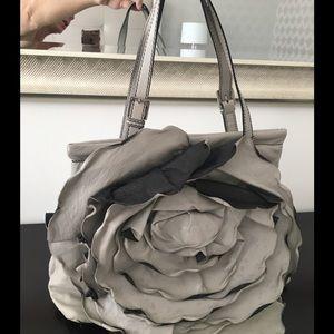 Valentino Grey Lambskin Leather Flower Bag